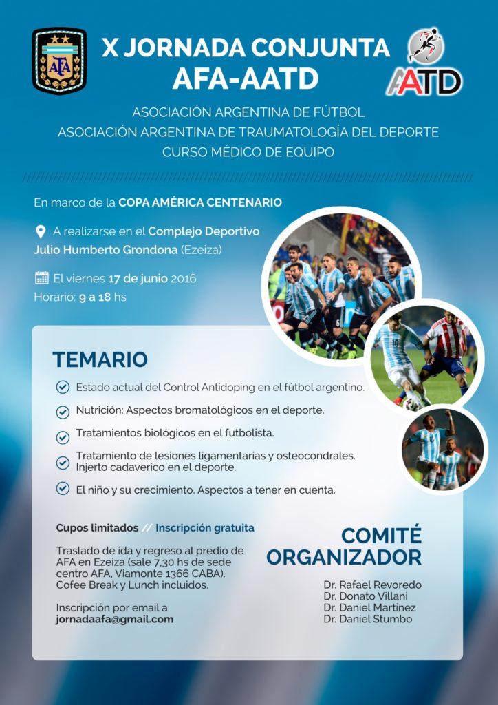 Afiche promocional de la X Jornada Conjunta AFA - AATD