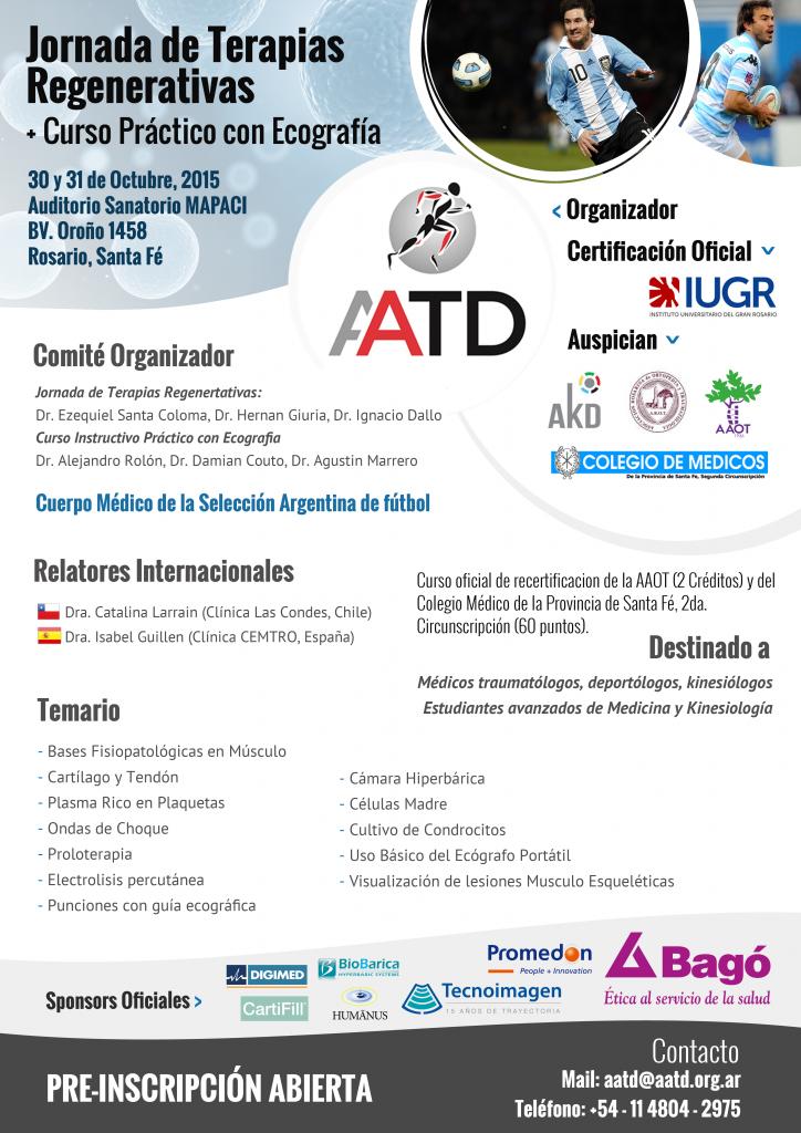 Afiche oficial Jornada de Terapias Regenerativas y Curso Práctico con Ecografía