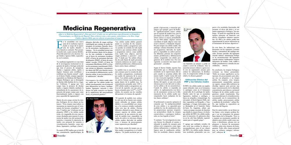Entrevista sobre Medicina Regenerativa en Revista Prescribe
