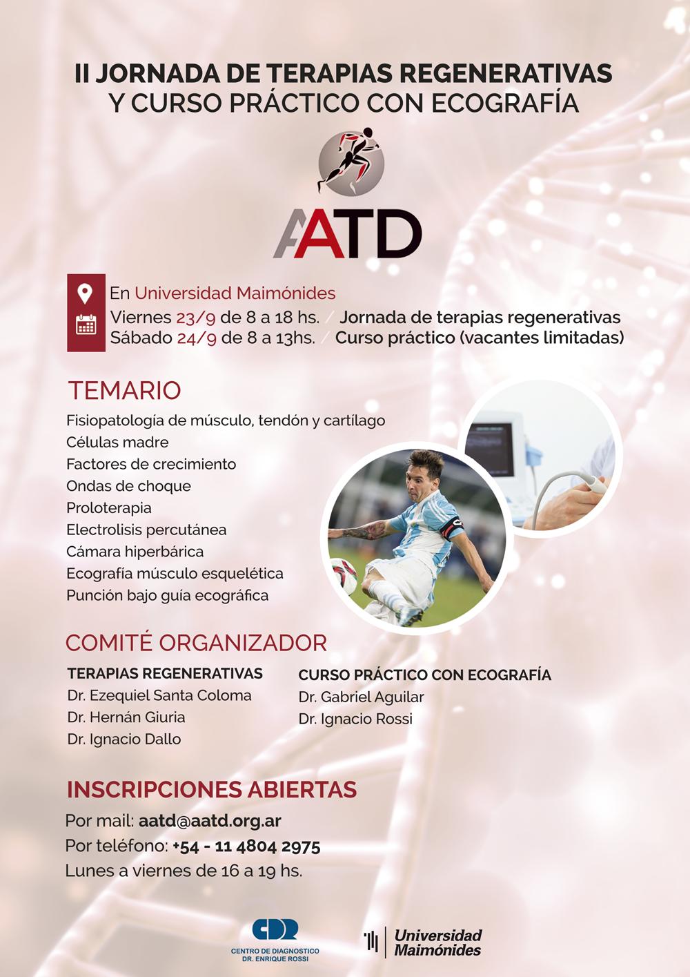 II Jornada de Terapias Regenerativas y Curso Práctico con Ecografia - Afiche oficial del evento