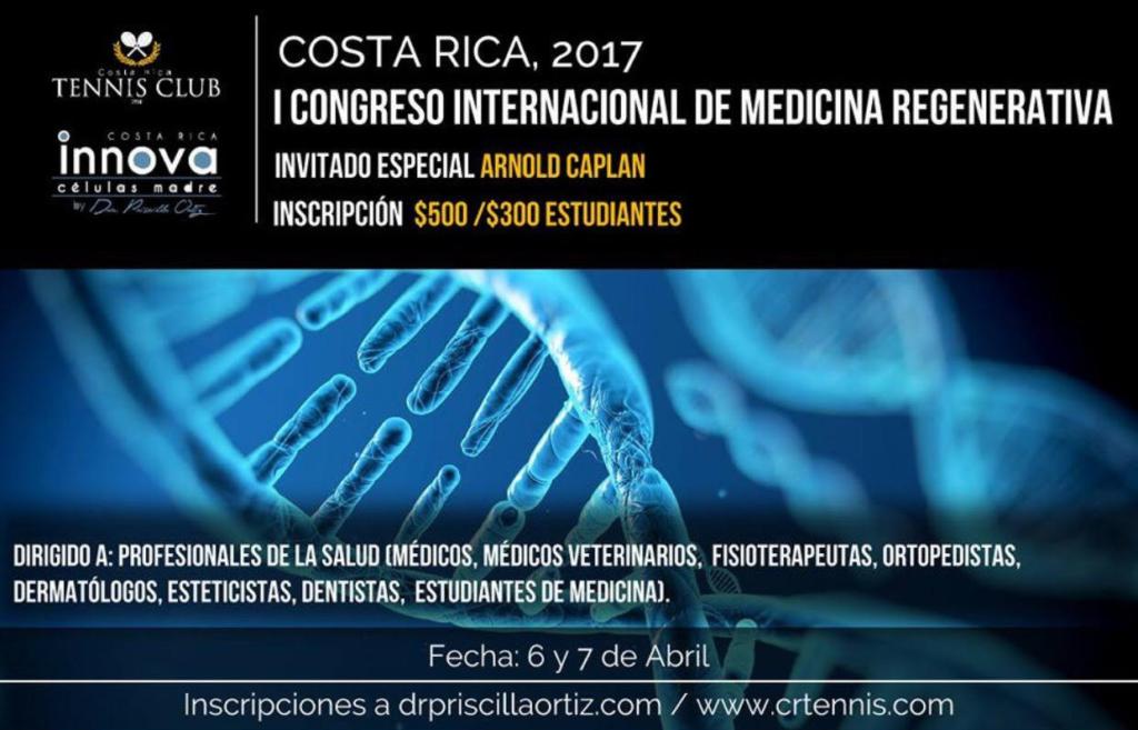 Flyer promocional del 1er Congreso Internacional de Medicina Regenerativa en Costa Rica