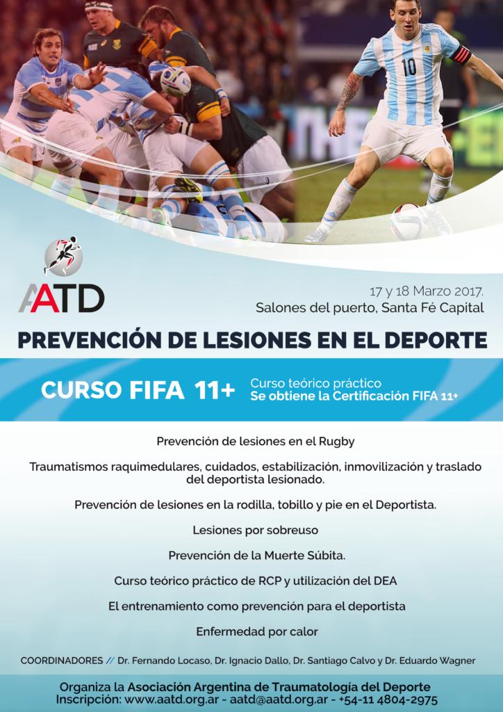 Flyer oficial del Curso de Prevención de Lesiones en el Deporte en Santa Fé
