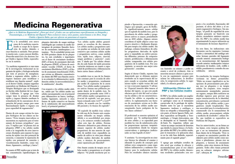 Revista Prescribe Nº 36 - Entrevista a los Dres. Jorge Chahla e Ignacio Dallo sobre Medicina Regenerativa