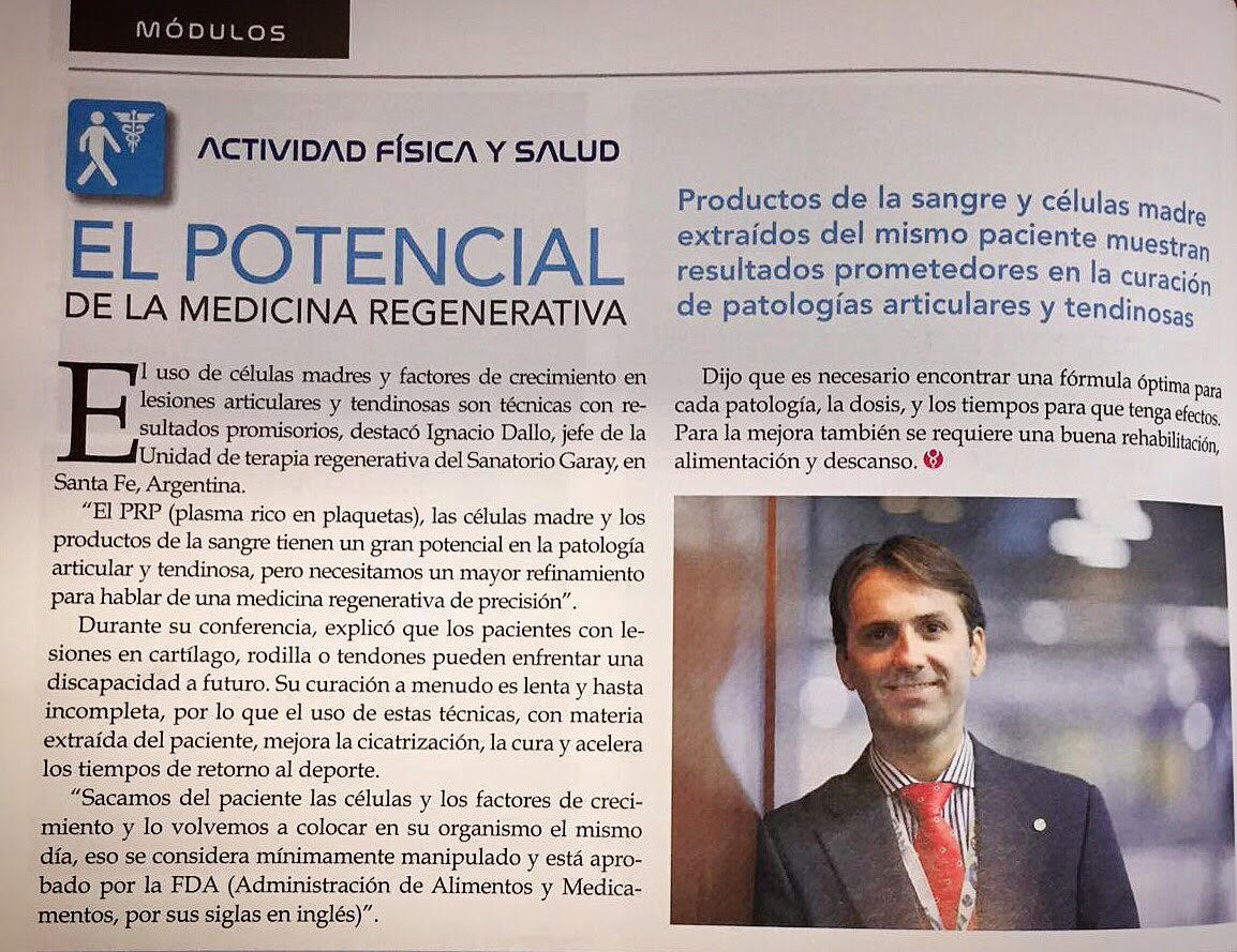 """""""El potencial de la medicina regenerativa"""" .Entrevista al Dr. Ignacio Dallo. Módulo Actividad Física y Salud, Revista Avances del Hospital Civil de Guadalajara."""